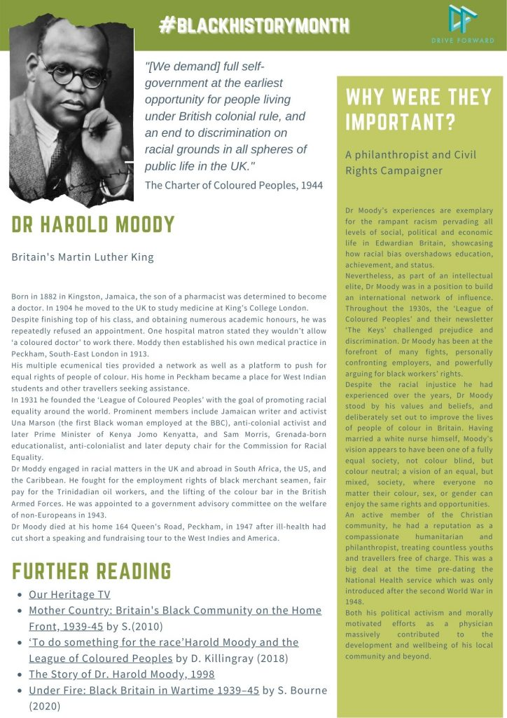 Black History Month: brief summary of the life and achievements of Dr Harold Moody (1882-1947), a Jamaican-born physician and civil rights activist who live in Peckham